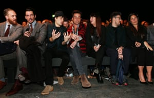 Model David Gandy, actor Douglas Booth, DJ Nick Grimshaw and designer Henry Holland sit in the front row at the Topman Design show