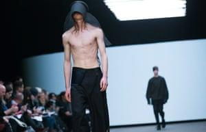 A model walks the catwalk for Irish designer Rory Parnell Mooney for MAN