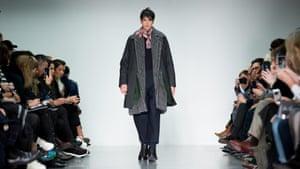 A model on the catwalk for British designer Lou Dalton