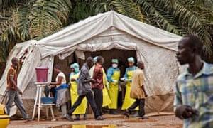 Kenema in august last year. Health workers screen people for the Ebola virus.