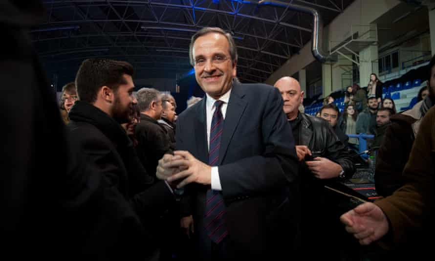 Prime minister Antonis Samaras at an election rally in Halkida. He has crisscrossed the country, sometimes visiting several cities a day.