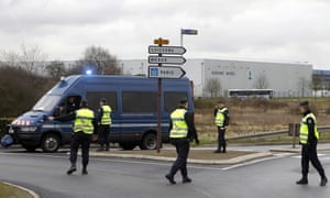 Police officers today at the scene of the siege in Dammartin-en-Goele.