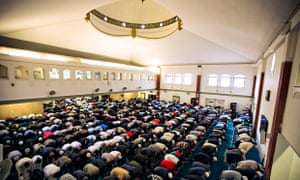 Friday prayers at the East London Mosque, Whitechapel.