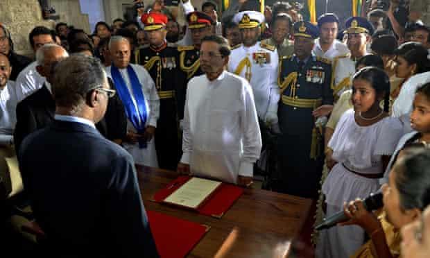 Maithripala Sirisena is sworn in as Sri Lanka's new president last Friday.