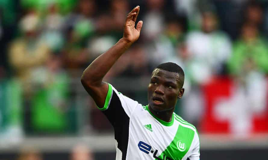Wolfsburg's Junior Malanda celebrates after scoring during Wolfsburg's 4-1 over FC Nuernberg in last season's German Bundesliga.