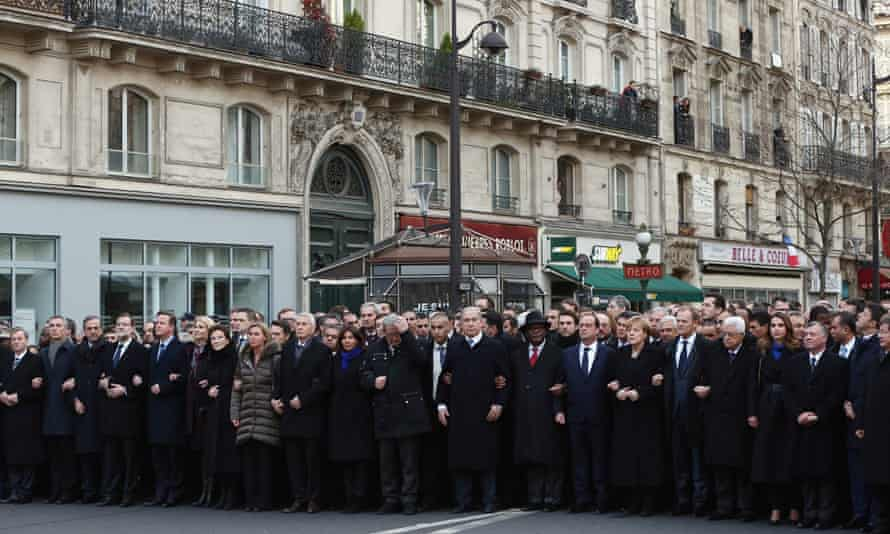 The world leaders gather at the head of the march.