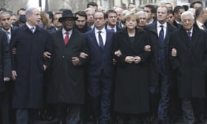 From the left, Israeli Prime Minister Benjamin Netanyahu, Malian President Ibrahim Boubacar Keita, French President Francois Hollande, German Chancellor Angela Merkel, EU president Donald Tusk and Palestinian Authority President Mahmoud Abbas march during a rally in Paris.