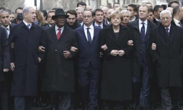 From the left, Israeli Prime Minister Benjamin Netanyahu, Malian President Ibrahim Boubacar Keita, French President Francois Hollande, German Chancellor Angela Merkel, EU president Donald Tusk and Palestinian Authority President Mahmoud Abbas march during a rally in Paris.