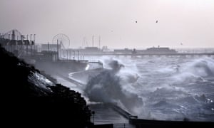 Blackpool beach front as Britain is hit by gales and heavy rain.