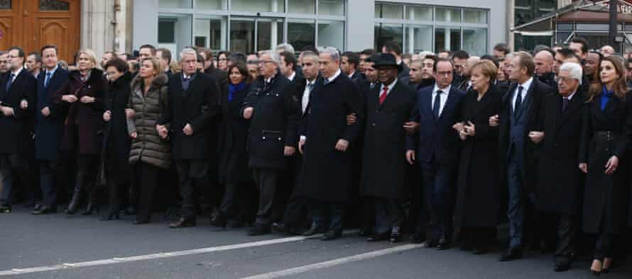 World leaders at the head of the Paris march.