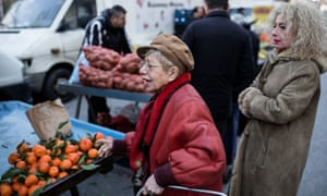 Shoppers queue up a stall in Thessaloniki