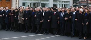 World leaders march in Paris on 11 January 2015.