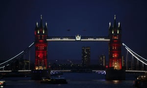 Tower Bridge is seen lit in the colours of the French national flag in a tribute to the victims of the Paris terror attacks