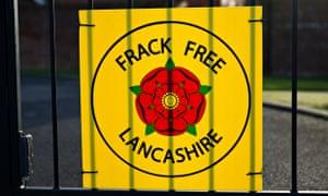 Anti-fracking sign on a gate in Little Plumpton, Lancashire.