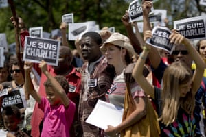 Johannesburg, South Africa: Hundreds attend a demonstration in solidarity with the victims of terrorist attacks in and around Paris. They sung the French national anthem and observed a minute of silence.