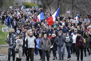 Atlanta, Georgia, US Hundreds of people make their way through Piedmont Park during a silent walk to support France after a three-day terrorism spree around Paris that killed 17 people last week.