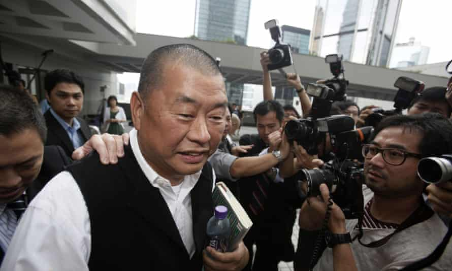 Jimmy Lai pictured when he appeared in court in Hong Kong after a Chinese man was convicted of allegedly planning to shoot two prominent pro-democracy figures, Lai and veteran politician Martin Lee, in the territory.