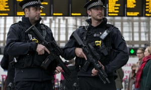 Armed officers from the British Transport Police on patrol during Counter Terrorism Awareness Week