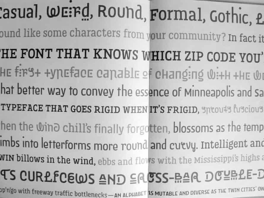 The typeface created by Just Rossum and Erik Blokland for the Minneapolis and St Paul