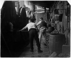 This photograph shows strike safety men working in Pendlebury, 1926. The GNM Archive holds a number of vintage prints of the 1926 General Strike. This photograph was taken by the Guardian's first photographer Walter Doughty on 2 May. It depicts strike workers stoking to keep the pumps working and prevent the mine from flooding during the miners strike.