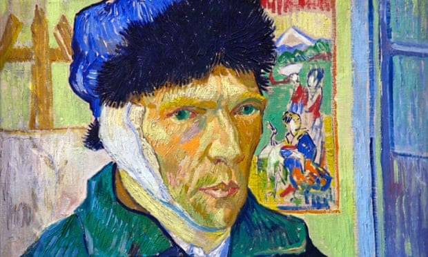 """'Vincent's eyes are crystal blue, his gaze acute and penetrating. He is neither """"sane"""" nor """"insane"""" but a fellow human being who speaks to us with courage and honesty.' Self-portrait with Bandaged Ear, by Vincent van Gogh, 1889."""