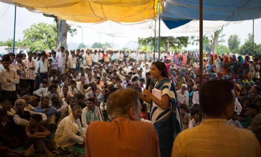 Priya Pillai addressing the MSS public meeting. People from eleven villages around the Mahan forest area hold a rally  Van Adhikar Sammelan  to tell Essar Power they won't allow coal mining in their forests, just as the inhabitants of Niyamgiri have stopped Vedanta from taking over their forests for mining.