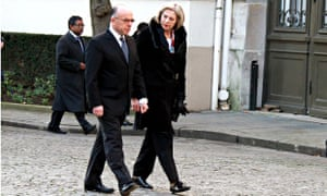 The French interior minister, Bernard Cazeneuve, with the British home secretary, Theresa May, in Pa