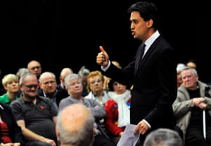Ed Miliband during an question and answer session at Stevenage Arts and Leisure Centre