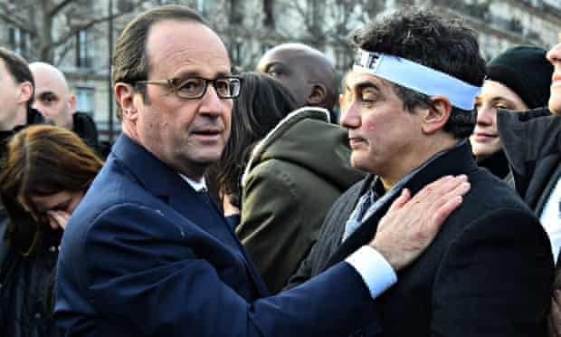 François Hollande and Charlie Hebdo columnist Patrick Pelloux