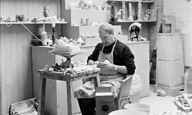Henry Moore at work at his studio, Perry Green, c1960.