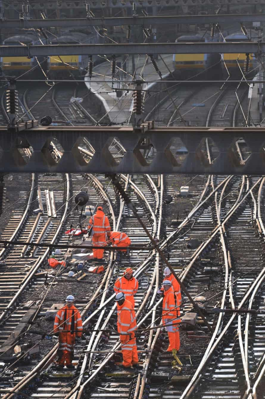 Workers on the tracks outside King's Cross.