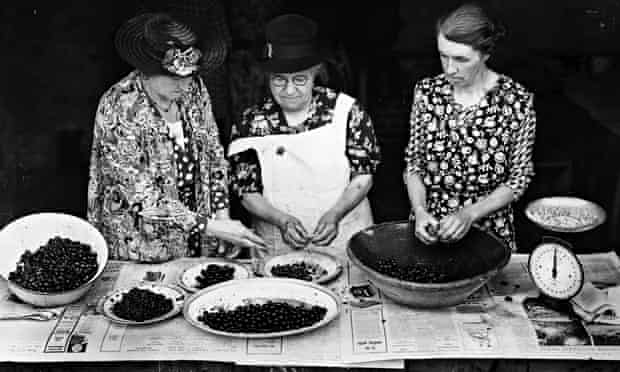 Women's Institute weigh and stone cherries in order to make jam