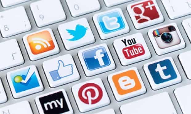 social media logos on keyboard