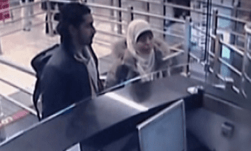 A still from CCTV footage appearing to show Hayat Boumeddiene going through passport control at Istanbul airport