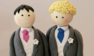 A wedding cake topper for a civil partnership ceremony