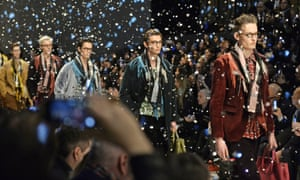 Models on the catwalk at Burberry Prorsum AW15