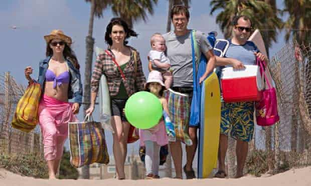 Growing pains … Tina, Michelle, Brett, Alex and kids in Togetherness. Photograph: HBO