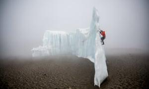 Will Gadd ice climbing on Kilimanjaro, Tanzania - Africa.