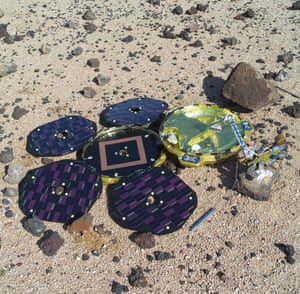 A model of Beagle 2 on the Johnson Space Center Mars simulation surface in Houston.