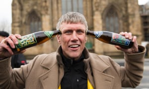 """Aiming to overturn Labour's 5,725 majority in May, Bez was giving out """"frack free"""" beer, fresh from visiting an anti-fracking protest near Hull. One of his campaign slogans is: """"Shake your maracas if you are against the frackers""""."""