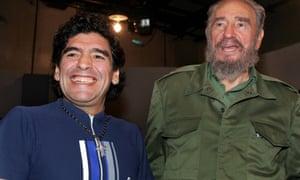 Former Argentine soccer player Diego Maradona and former Cuban president Fidel Castro in 2005.