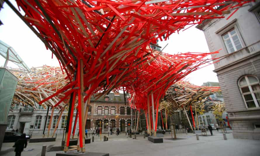 Neon nest … the €400,000 centrepiece of Mons Capital of Culture has now been dismantled for fear of collapse.