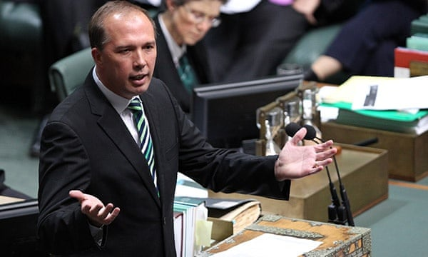 The former minister for health Peter Dutton – not popular among doctors, according to a poll by Australian Doctor magazine. Photograph: Stefan Postles/AAP