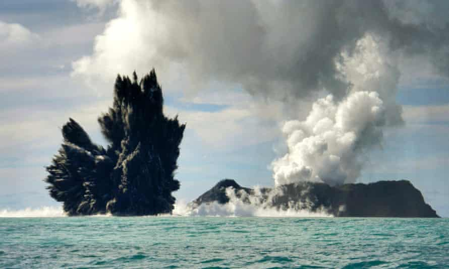 Smoke is seen after an underwater volcano erupted in Hunga Ha'apai, Tonga March 18, 2009.