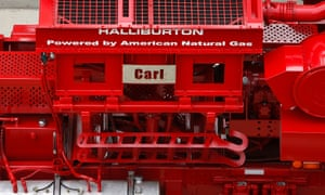 Halliburton Co. signage is displayed on the Dual-Fuel Q10 Pumping Unit (fracturing pump) outside of the company's facility in Houston, Texas, on May 9, 2013.