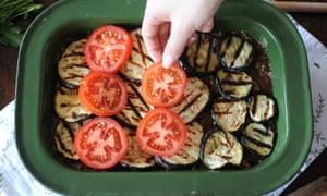 layering veg into a moussaka