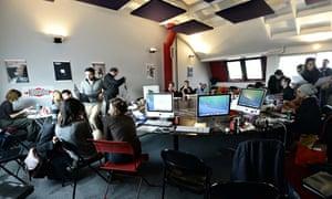 Charlie Hebdo staff at Liberation