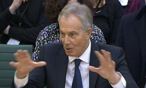 Tony Blair answers questions at a parliamentary inquiry into the 'on the runs' on 13 January 2015.