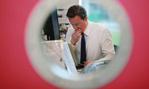 David Cameron at a computer