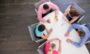 Businesspeople at boardroom table